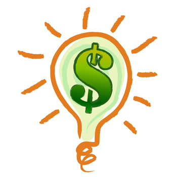 Money making idea light bulb with a dollar sign in 