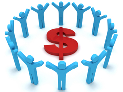Make money circle of people.