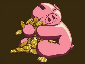 A big fat piggy bank holding on to a bunch of pennies.