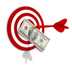 Online targeted advertising with an arrow through a dollar bill.