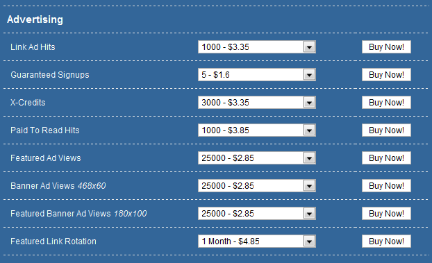 Easy Money PTC advertising chart.
