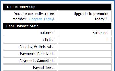 No sign up bonus in Easy Money PTC back office.