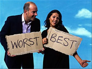 Man and woman holding best and worse signs.