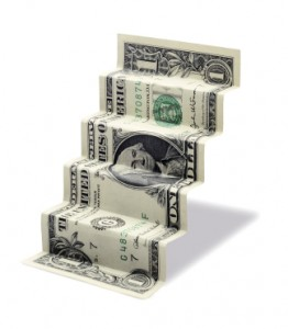Climbing dollar bill.