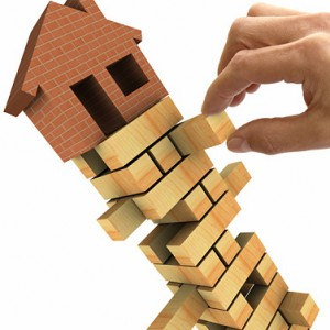 3d Illustration of the housing market recession.